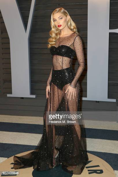 Elsa Hosk attends the 2018 Vanity Fair Oscar Party hosted by Radhika Jones at Wallis Annenberg Center for the Performing Arts on March 4 2018 in...