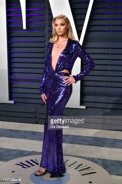 Elsa Hosk attends the 2019 Vanity Fair Oscar Party hosted by Radhika Jones at Wallis Annenberg Center for the Performing Arts on February 24, 2019 in...