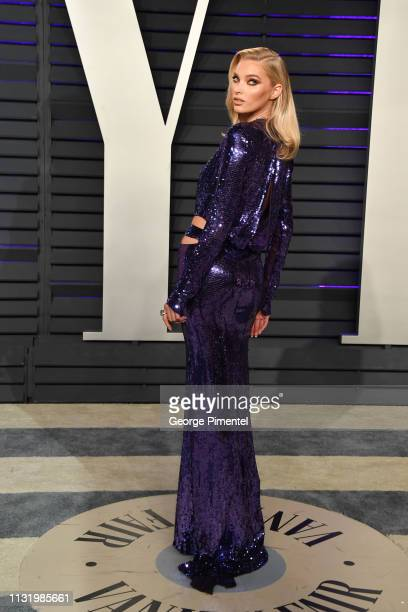 Elsa Hosk attends the 2019 Vanity Fair Oscar Party hosted by Radhika Jones at Wallis Annenberg Center for the Performing Arts on February 24 2019 in...