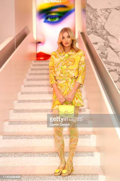 Elsa Hosk attends the Pat McGrath 'A Technicolour Odyssey' Campaign launch party at Brasserie of Light Selfridges on April 04 2019 in London England