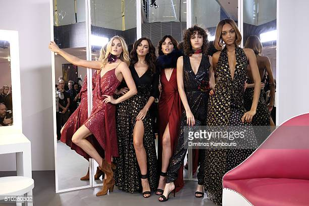 Elsa Hosk Irina Shayk Lily Aldridge Alanna Arrington and Jourdan Dunn pose wearing Diane Von Furstenberg Fall 2016 during New York Fashion Week on...