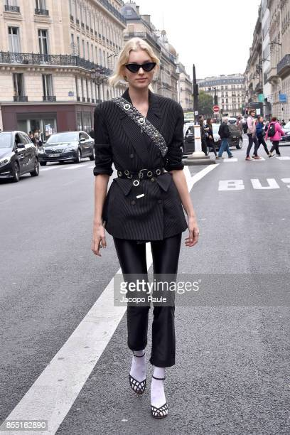 Elsa Hosk is seen arriving at Balmain fashion show during the Paris Fashion Week Womenswear Spring/Summer 2018 on September 28 2017 in Paris France
