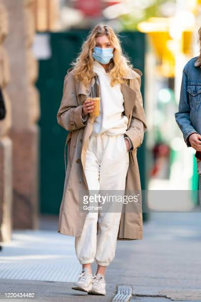 Elsa Hosk is seen wearing a protective face mask during the COVID-19 pandemic in SoHo on April 22, 2020 in New York City.