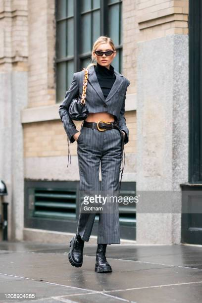 Elsa Hosk is seen wearing Bottega Veneta in SoHo on February 26 2020 in New York City