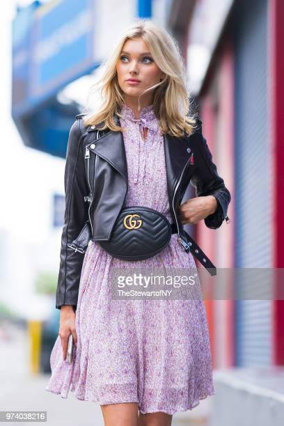 Elsa Hosk is seen wearing Gucci fanny pack and shoes in Chelsea on June 13 2018 in New York City