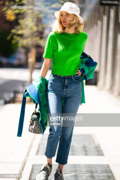 Elsa Hosk is seen wearing J Brands jeans with Balenciaga in SoHo on April 24, 2019 in New York City.