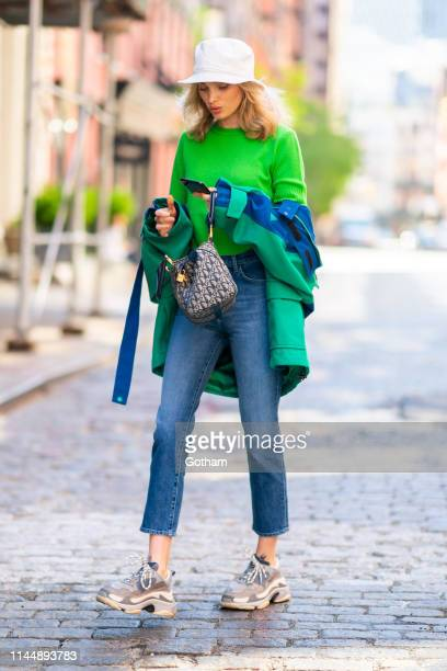 Elsa Hosk is seen wearing J Brands jeans with Balenciaga in SoHo on April 24 2019 in New York City