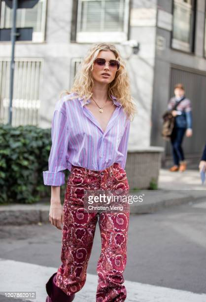 Elsa Hosk is seen wearing pink striped button shirt pants with print outside Etro during Milan Fashion Week Fall/Winter 20202021 on February 21 2020...