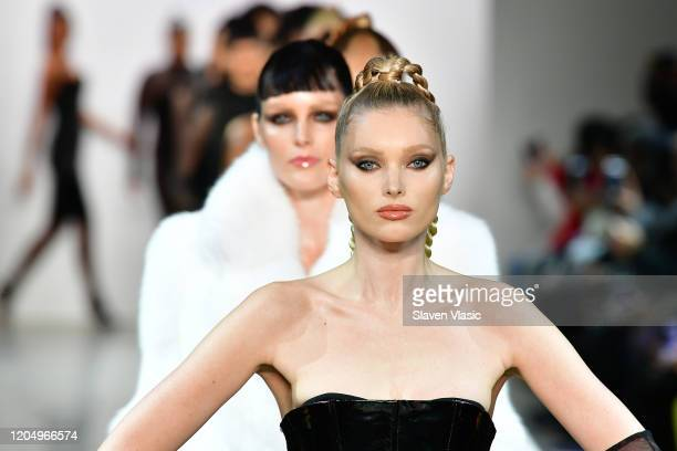 Elsa Hosk leads the runway for Jordache X LaQuan Smith during New York Fashion Week at Gallery II at Spring Studios on February 08 2020 in New York...