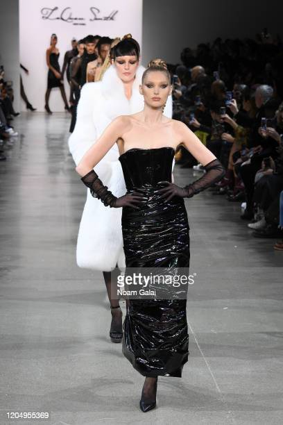Elsa Hosk leads the runway for Laquan Smith during New York Fashion Week The Shows on February 08 2020 in New York City