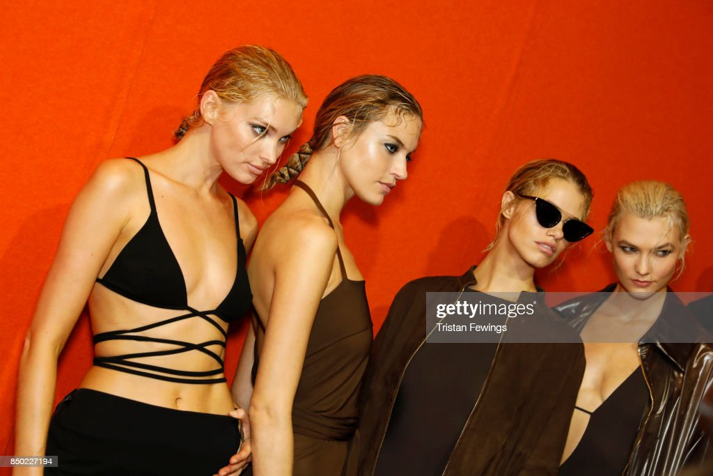 Elsa Hosk, Martha Hunt, Hailey Clauson and Karlie Kloss are seen backstage ahead of the Alberta Ferretti show during Milan Fashion Week Spring/Summer 2018on September 20, 2017 in Milan, Italy.