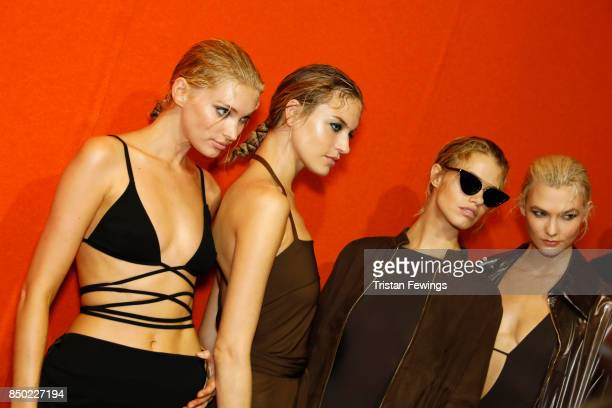 Elsa Hosk Martha Hunt Hailey Clauson and Karlie Kloss are seen backstage ahead of the Alberta Ferretti show during Milan Fashion Week Spring/Summer...
