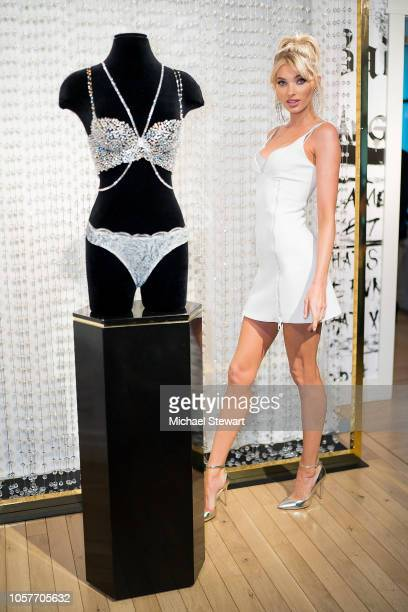 Elsa Hosk poses with tthe 2018 Dream Angels Fantasy Bra by Atelier Swarovski at Victoria's Secret Fifth Ave on November 5 2018 in New York City