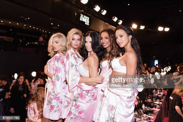 Elsa Hosk Stella Maxwell Adriana Lima Jasmine Tookes and Lais Ribeiro attend 2017 Victoria's Secret Fashion Show in Shanghai at MercedesBenz Arena on...