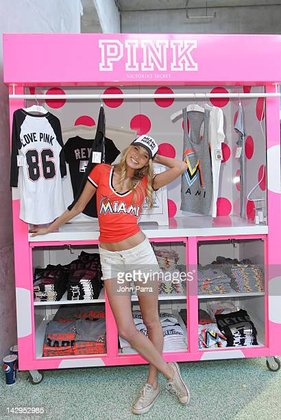 Elsa Hosk Victoria Secret Pink model and MLB are teaming up to kick off the baseball season with limited-edition collection of PINK MLB gear at Miami...