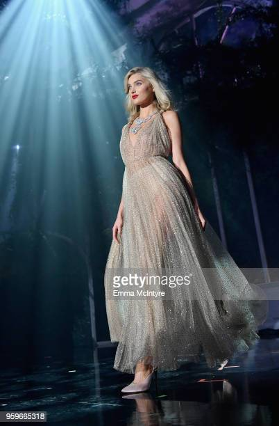 Elsa Hosk walks the runway at the amfAR Gala Cannes 2018 at Hotel du CapEdenRoc on May 17 2018 in Cap d'Antibes France