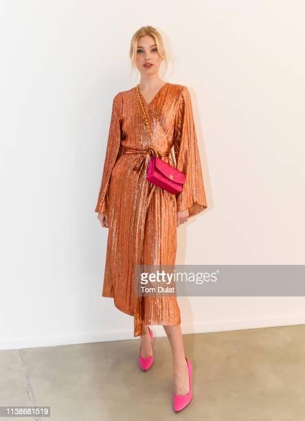 Elsa Hosk wears Madiyah Al Sharqi's latest collection during the Madiyah Al Sharqi celebration launch of Spring/Summer '19 at Dubai Design District...