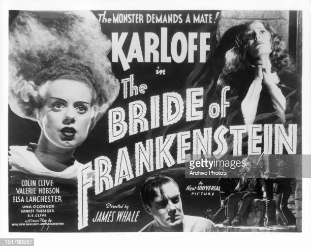 Elsa Lanchester Colin Clive Valerie Hobson and Boris Karloff in movie art for the film 'Bride Of Frankenstein' 1935