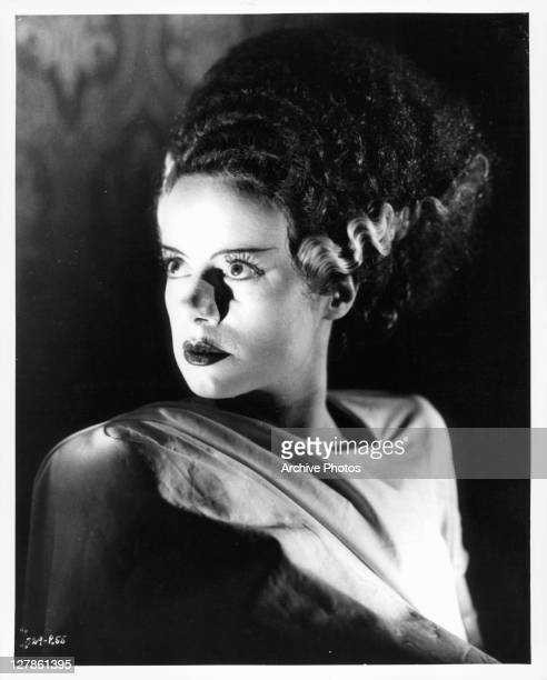 Elsa Lanchester looking to her right in a scene from the film 'Bride Of Frankenstein' 1935