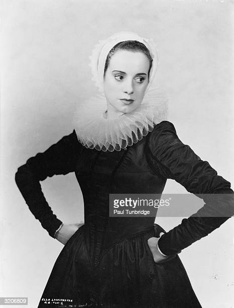 Elsa Lanchester wearing a ruff collar while portraying Hendrickje Stoffels in Alexander Korda's biopic of the artist Rembrandt