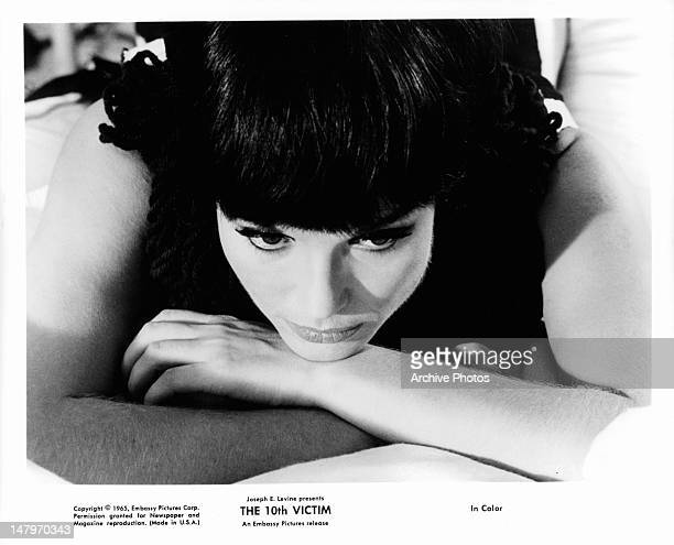 Elsa Martinelli laying down in a scene from the film 'The 10th Victim' 1965