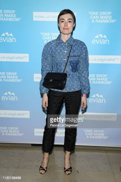 "Elsa Muse attends the launch of Evian and Virgil Abloh's limitededition ""One Drop can make a Rainbow"" collection at Théâtre National de Chaillot..."