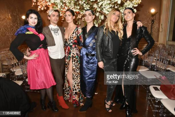 Elsa Oesinger 3 guests Melanight Les Anges 9 and Sylvie Ortega Munos attend the Stevens Ishay Fashion Show at 3 avenue Emile Acolas on March 12 2019...