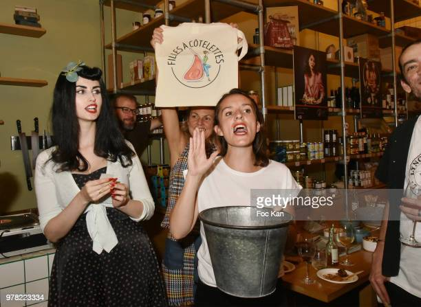 Elsa Oesinger and Valerie Mestre from INTERBEV and a guest attend ta tombola during he Filles A Cotelettes Party Hosted by Grand Seigneur Magazine at...
