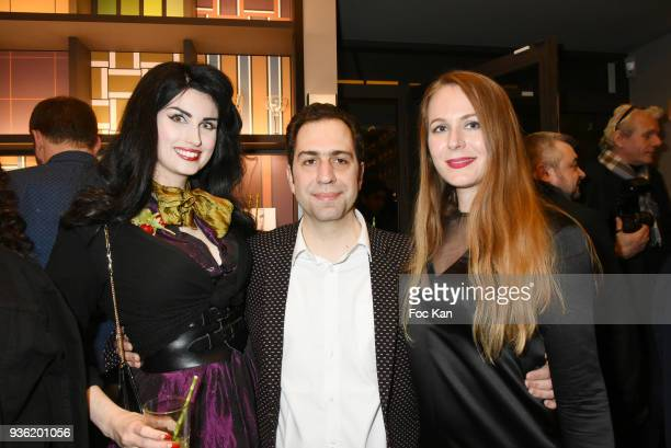 Elsa Oesinger Luxsure magazine director Pascal Lakovou and Sarah Paris Frivole attend Luxsure Magazine 10th Anniversary Cocktail on March 21 2018 in...