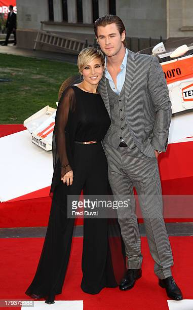 Elsa Pataki and Chris Hemsworth attend the World Premiere of Rush at Odeon Leicester Square on September 2 2013 in London England
