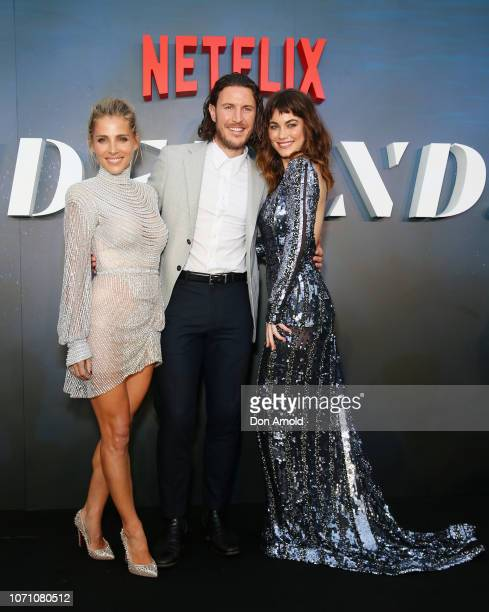 Elsa Pataky Aaron Jakubenko and Charlotte Best attend the premiere of the first Australian Netflix original series Tidelands on December 10 2018 in...