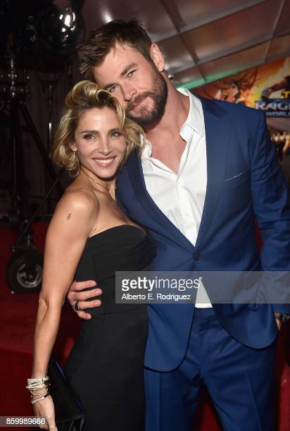 Elsa Pataky and actor Chris Hemsworth at The World Premiere of Marvel Studios' Thor Ragnarok at the El Capitan Theatre on October 10 2017 in...