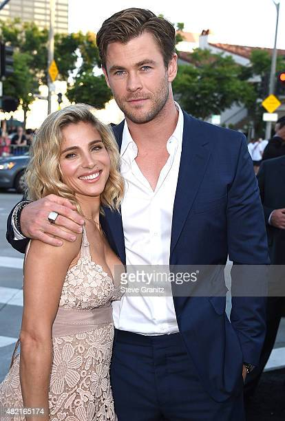 Elsa Pataky and Chris Hemsworth arrives at the Premiere Of Warner Bros 'Vacation' at Regency Village Theatre on July 27 2015 in Westwood California