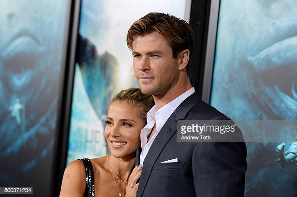 Elsa Pataky and Chris Hemsworth attend In The Heart Of The Sea New York premiere at Frederick P Rose Hall Jazz at Lincoln Center on December 7 2015...