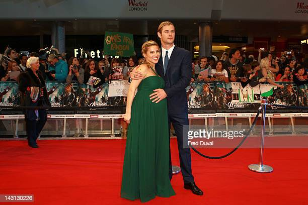 """Elsa Pataky and Chris Hemsworth attend """"Marvel Avengers Assemble"""" - European premiere at Vue Westfield on April 19, 2012 in London, England."""
