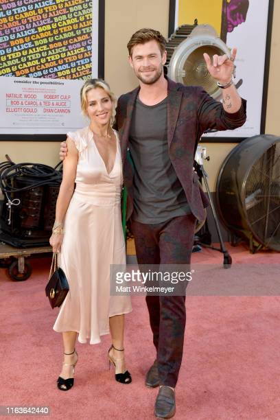 "Elsa Pataky and Chris Hemsworth attend Sony Pictures' ""Once Upon A Time...In Hollywood"" Los Angeles Premiere on July 22, 2019 in Hollywood,..."