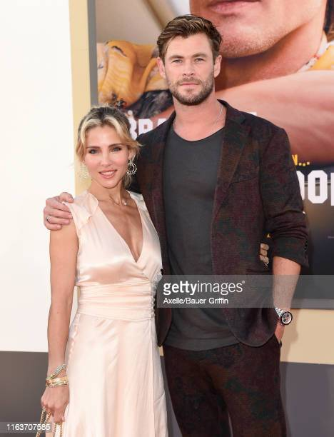 Elsa Pataky and Chris Hemsworth attend Sony Pictures' Once Upon a Time in Hollywood Los Angeles Premiere on July 22 2019 in Hollywood California