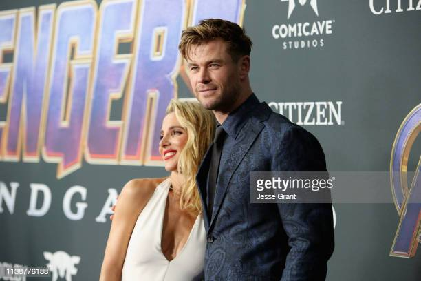 Elsa Pataky and Chris Hemsworth attend the Los Angeles World Premiere of Marvel Studios' Avengers Endgame at the Los Angeles Convention Center on...