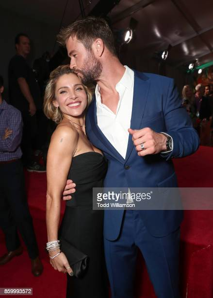 Elsa Pataky and Chris Hemsworth attend the premiere of Disney And Marvel's Thor Ragnarok on October 10 2017 in Los Angeles California