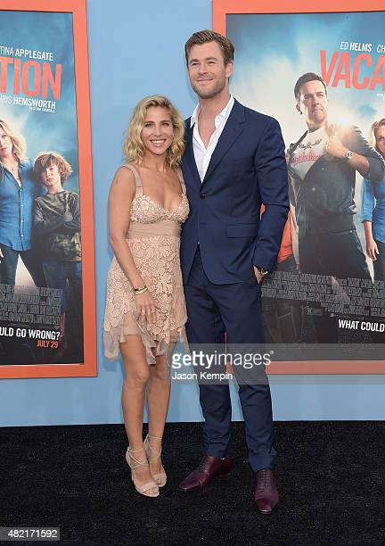 Elsa Pataky and Chris Hemsworth attend the premiere of 'Vacation' at Regency Village Theatre on July 27 2015 in Westwood California