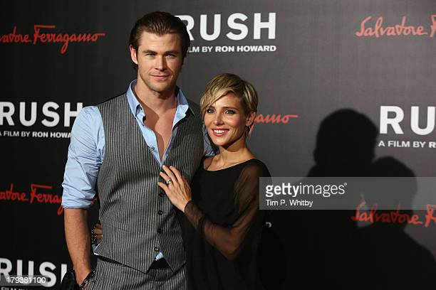 Elsa Pataky and Chris Hemsworth attend the Rush world premiere after party at One Marylebone on September 2, 2013 in London, England.