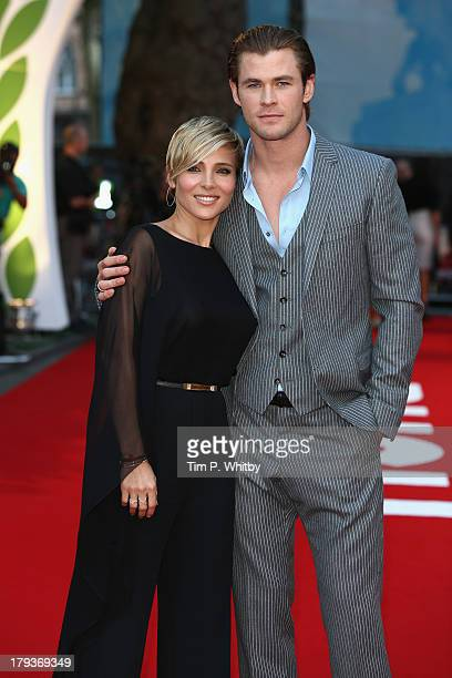 Elsa Pataky and Chris Hemsworth attend the Rush World Premiere at Odeon Leicester Square on September 2 2013 in London England