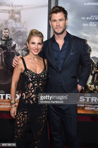 Elsa Pataky and Chris Hemsworth attend the world premiere of '12 Strong' at Jazz at Lincoln Center on January 16 2018 in New York City