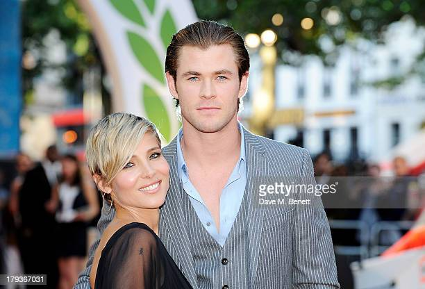 Elsa Pataky and Chris Hemsworth attend the World Premiere of 'Rush' at Odeon Leicester Square on September 2 2013 in London England