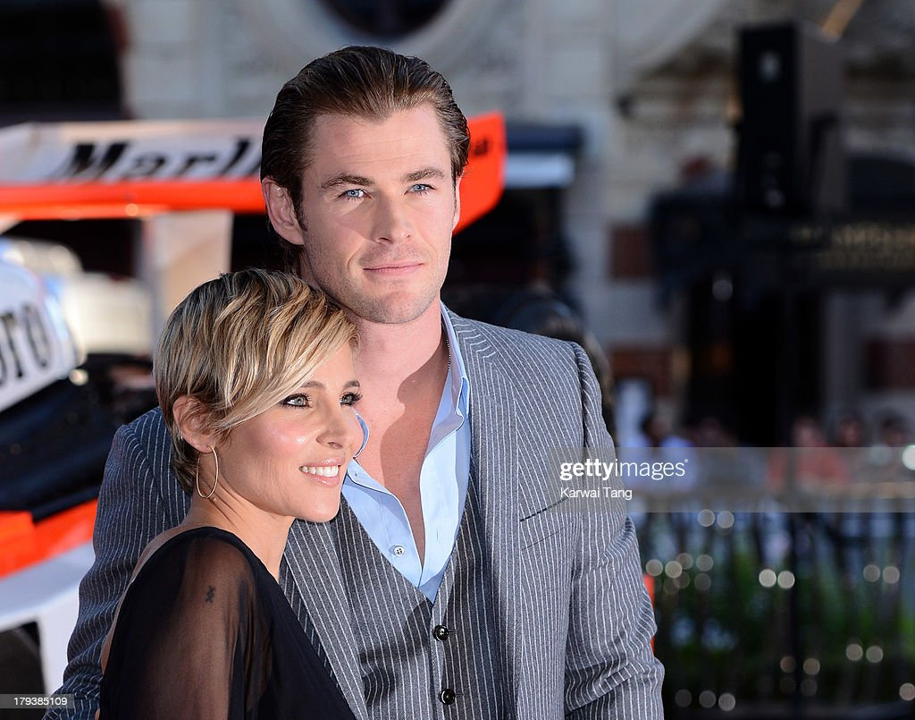 Elsa Pataky and Chris Hemsworth attend the World Premiere of 'Rush' at the Odeon Leicester Square on September 2, 2013 in London, England.