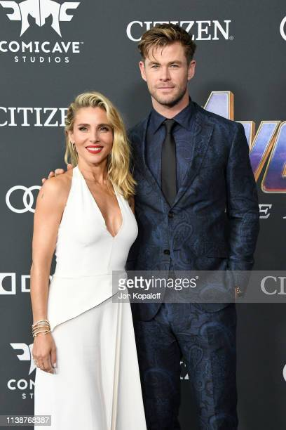 Elsa Pataky and Chris Hemsworth attend the world premiere of Walt Disney Studios Motion Pictures Avengers Endgame at the Los Angeles Convention...