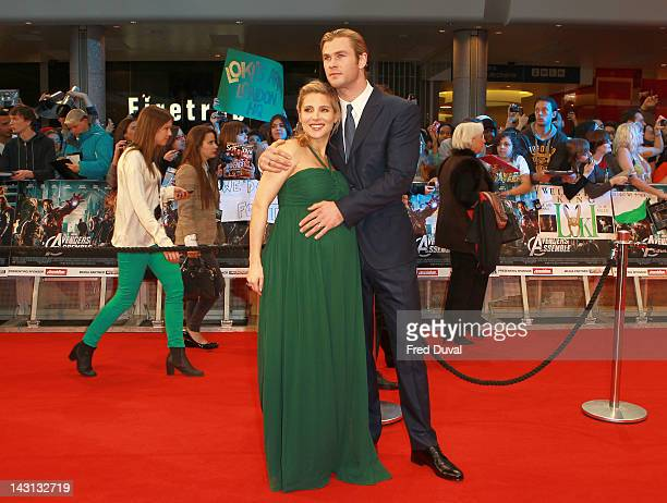 Elsa Pataky and Chris Hemsworth attends the Marvel Avengers Assemble European premiere at Vue Westfield on April 19, 2012 in London, England.
