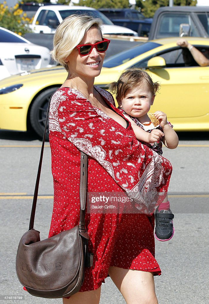 Elsa Pataky and her daughter India Rose Hemsworth are seen on February 23, 2014 in Los Angeles, California.