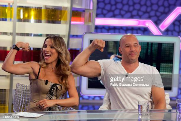 Elsa Pataky and Vin Diesel attend 'El Hormiguero' Tv Show at Vertice Studio on April 26, 2011 in Madrid, Spain.
