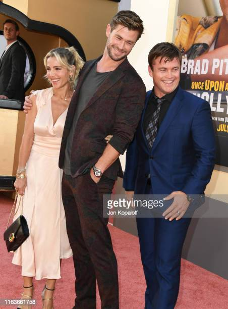 Elsa Pataky Chris Hemsworth and Luke Hemsworth attend Sony Pictures' Once Upon A TimeIn Hollywood Los Angeles Premiere on July 22 2019 in Hollywood...